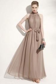 Длинное летнее платье из шифона (серый)