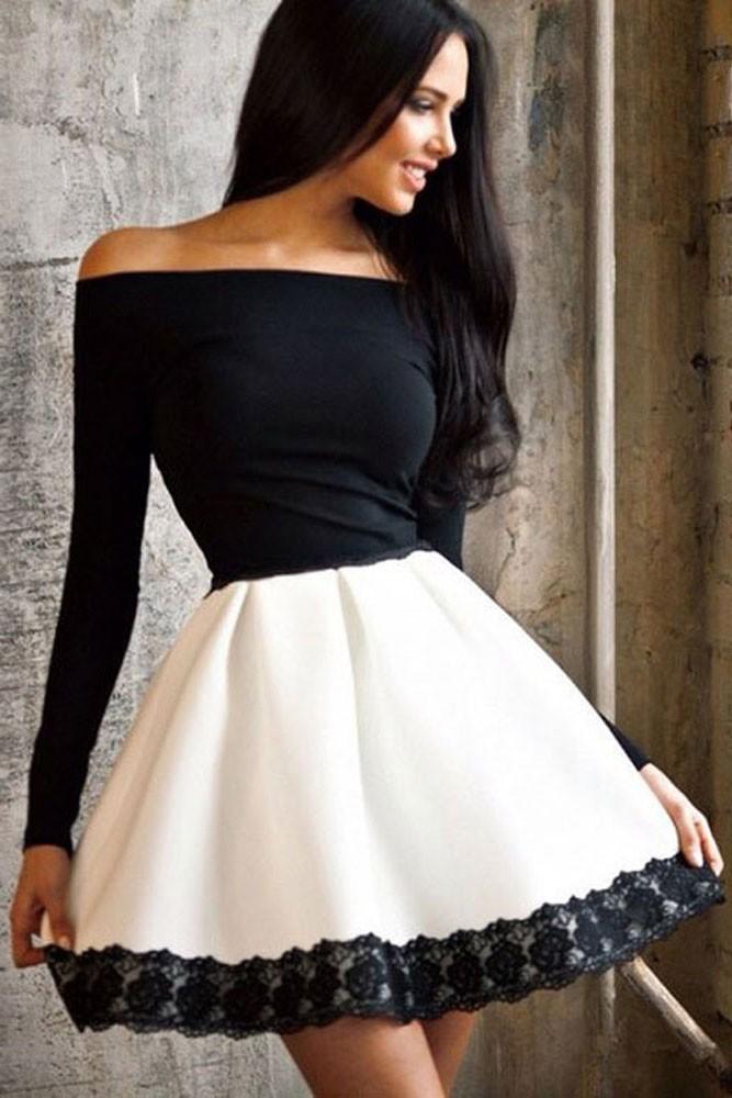Фото белого платья с черным кружевом
