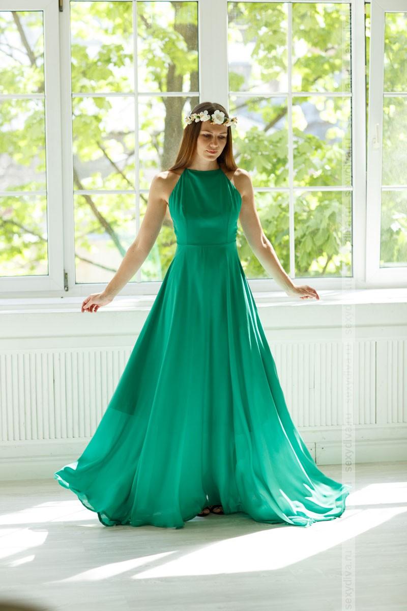 Длинное зеленое платье в пол