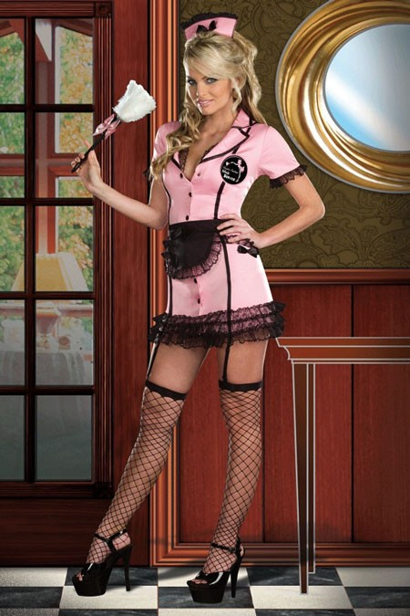 Онлайн секс служанка в розовом